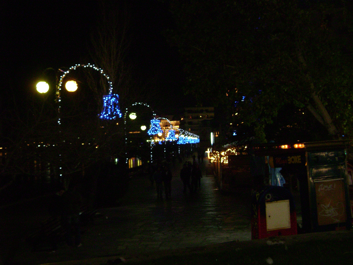 Chalkida Evia Greece The water front decorated for Chrismas