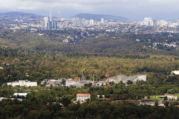 Chapultepec Forest with Theme park and Interlomas residential district towers