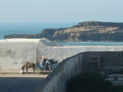 charette devant l'océan