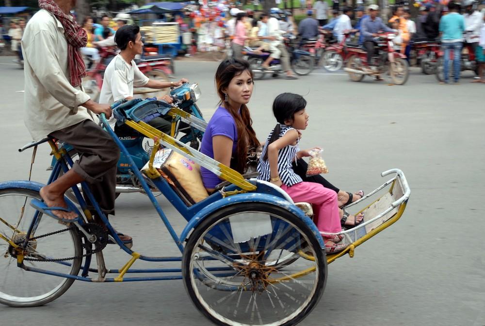 charmante passagère de cyclo pousse