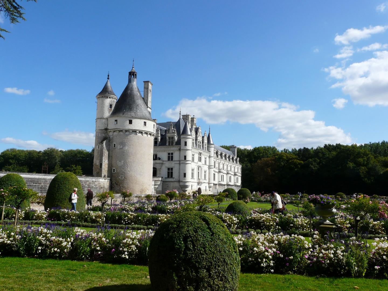Chateau de Chenonceaux : vue côté jardins.