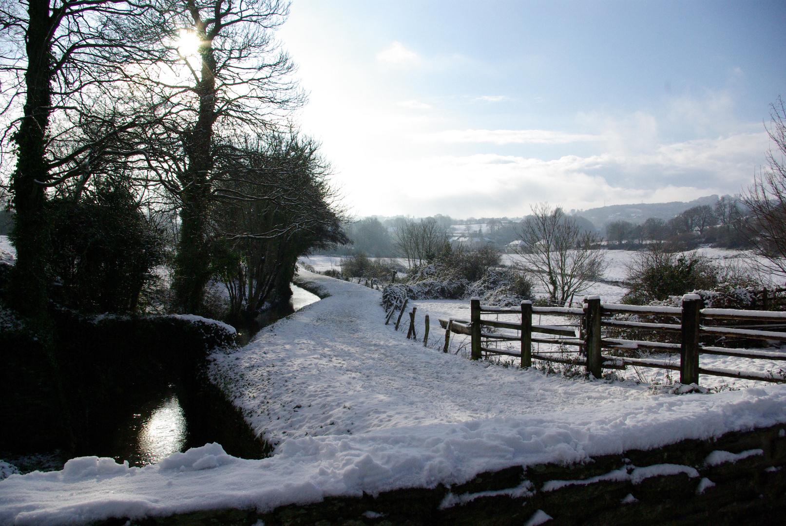 Chemin randonnée sous la neige