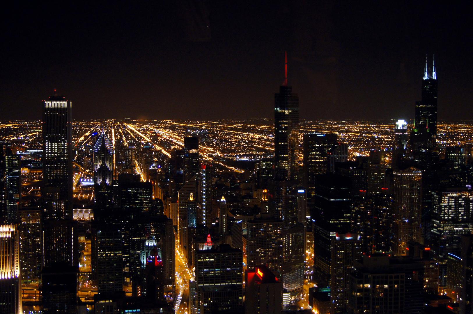 Chicago bei Nacht vom John Hancock Center