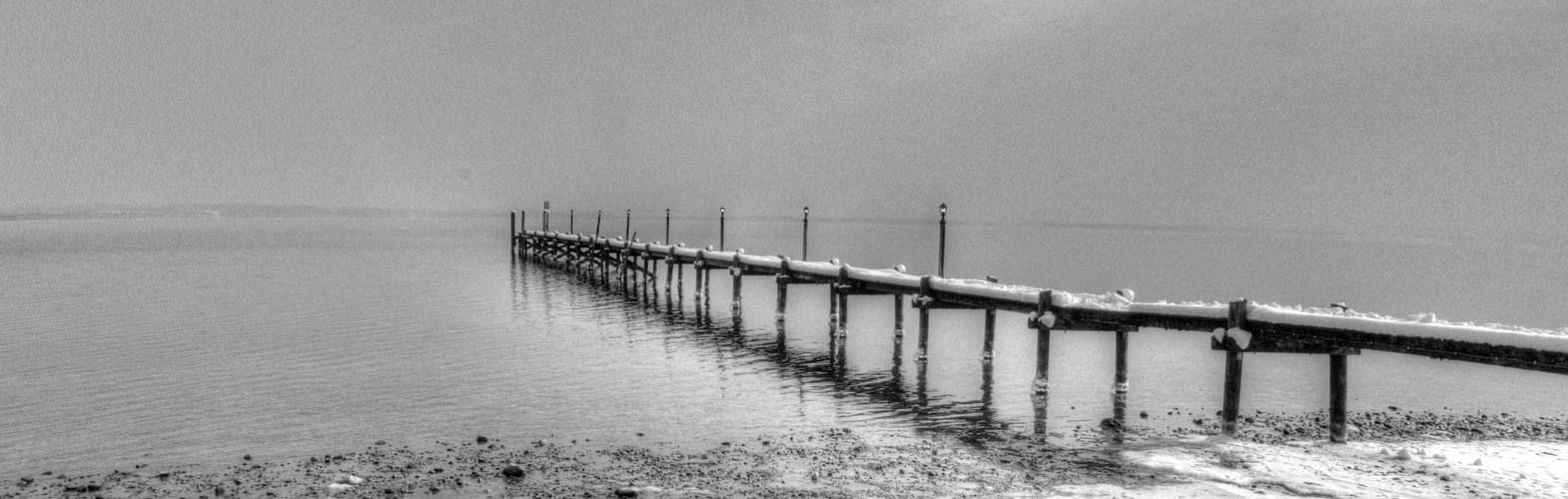 Chiemsee, Steg im Winter