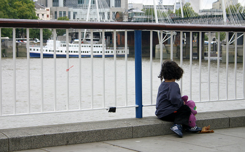 Child on the bank