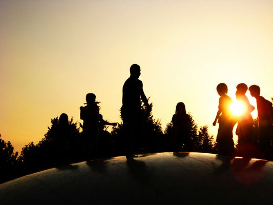 Children in the sunset