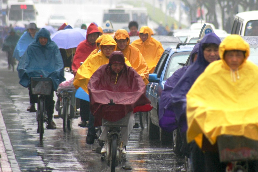 China bei Regen