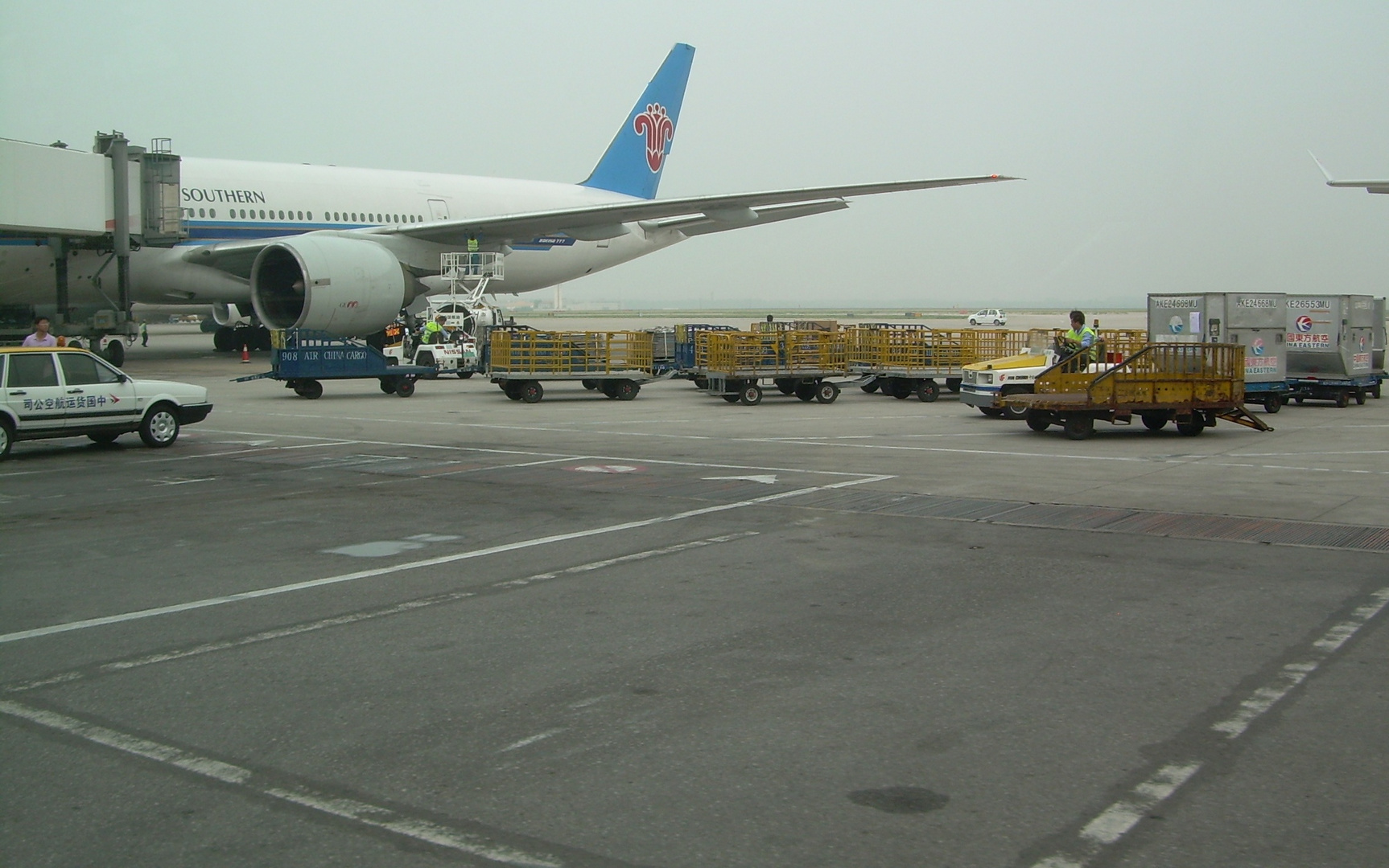 China Southern Airbus wing check in Beijing Airport summer 2008