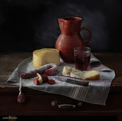 chorizo, queso, pan y vino