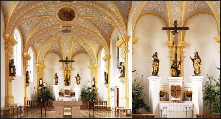 Chœur de l'Eglise de l'Immaculée Conception à Zusmarshausen, et détail de l'autel