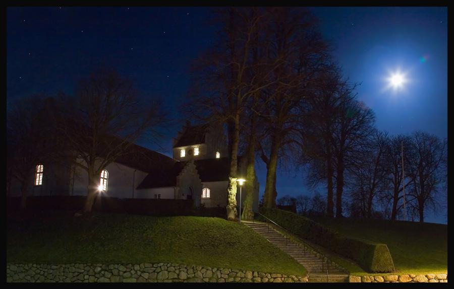 Church in moonlight.