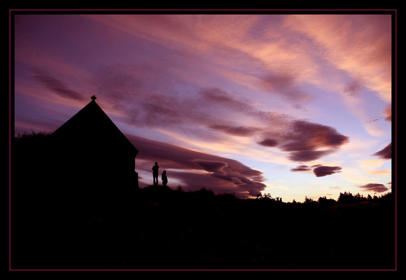 Church of Good Sheppard, Lake Tekapo bei Sonnenuntergang