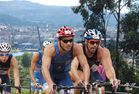 Ciclistas en Pontevedra