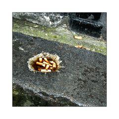 Cigarette butt left overs
