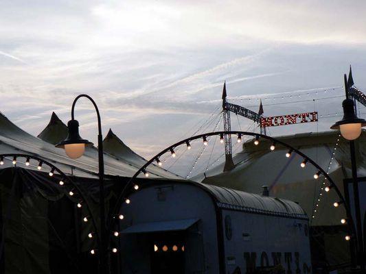 circus tent at dusk