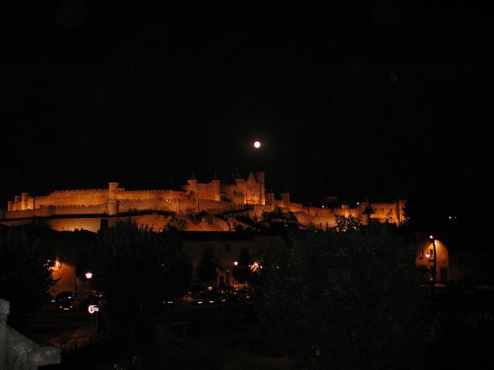 cité de carcassonne au clair de la lune