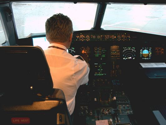 Ckockpit im Flieger