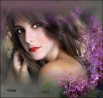 Claudia con flores de Ana Vera
