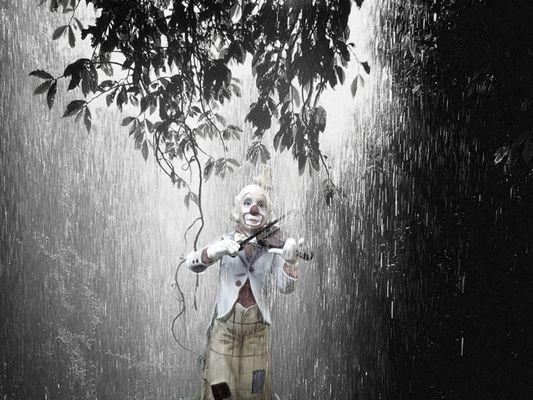Clown im regen