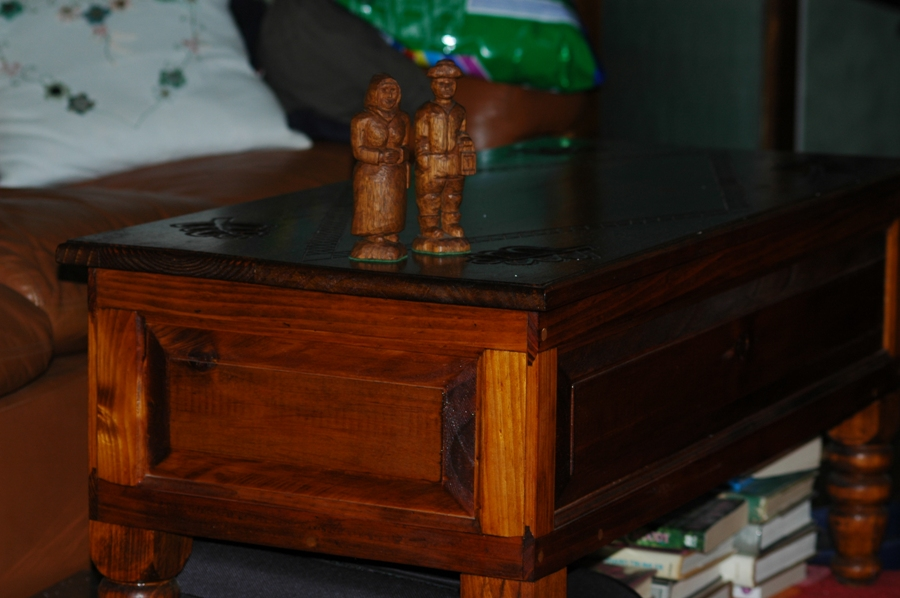 Coal Miner with Wife #3 on hand Carved Table