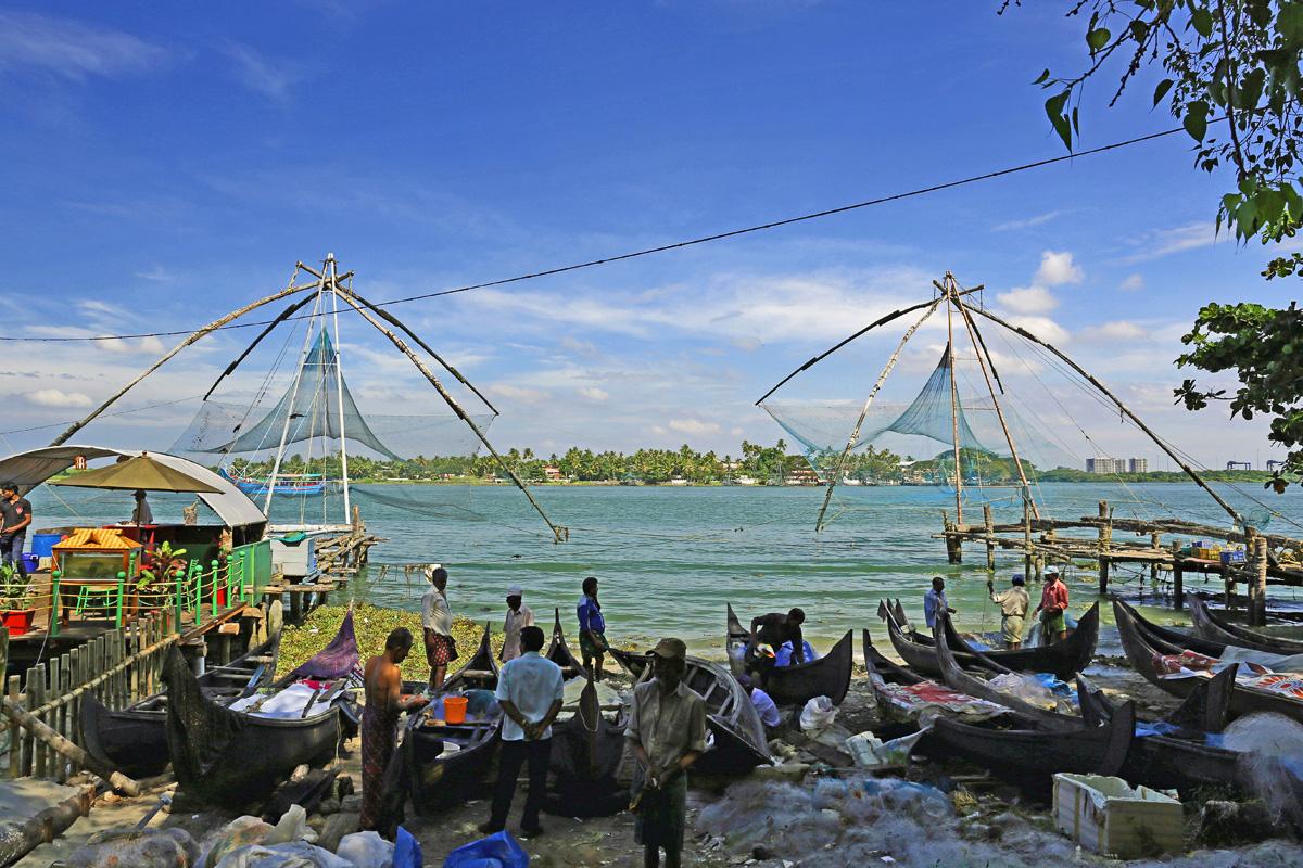 Cochin, Chinesische Fischernetze, Indien, Kerala
