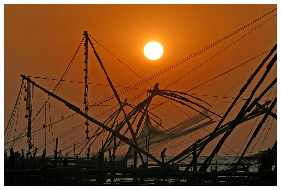 Cochin - Fischer im Sonnenuntergang