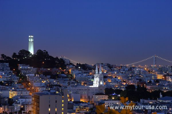 Coit Tower by night
