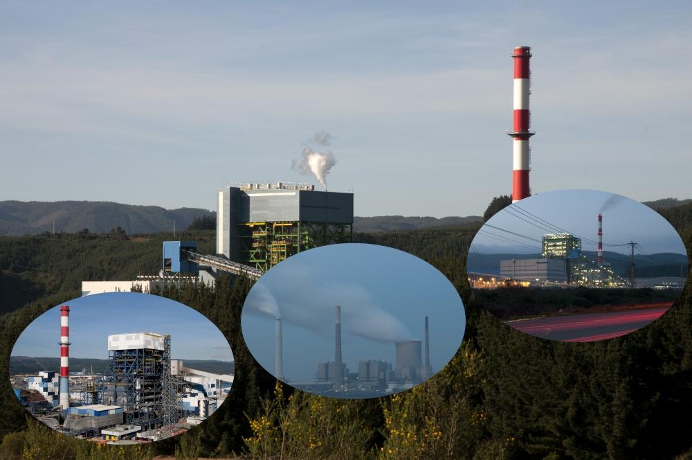 Collage aus 4 Kraftwerken rund um die Welt