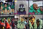 Collage: Holzmasken auf Wangener Narrensprung