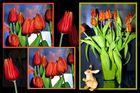 Collage mit Tulpen und Hase