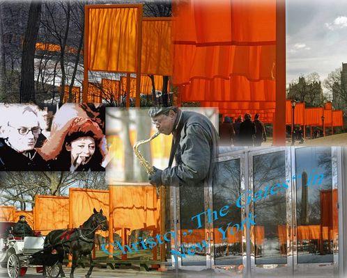 """Collage von Christos """"The Gates"""" in New York, III"""