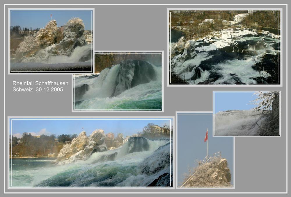 Collage...der Rheinfall in Eis und Nebel...