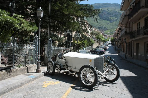 Collesano main street yesterday with english old cars.