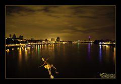 Cologne Rhein Night Skyline