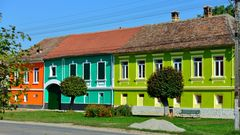 colorful houses in romania