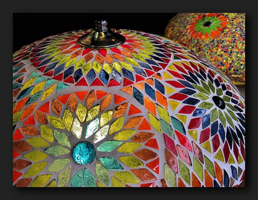 Colorful moroccan mosaic lamp