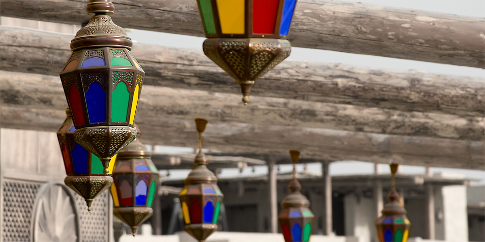 colourful lamps waiting for the night