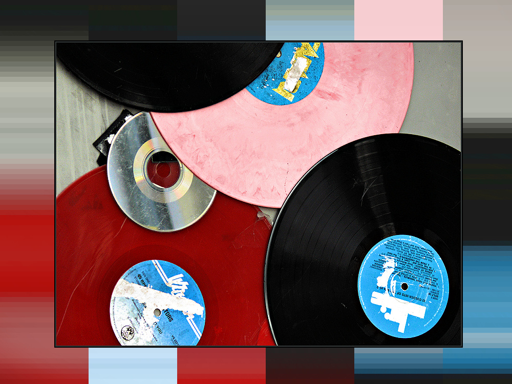 Colourful old vinyl records