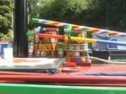 Colourful pots on a narrowboat