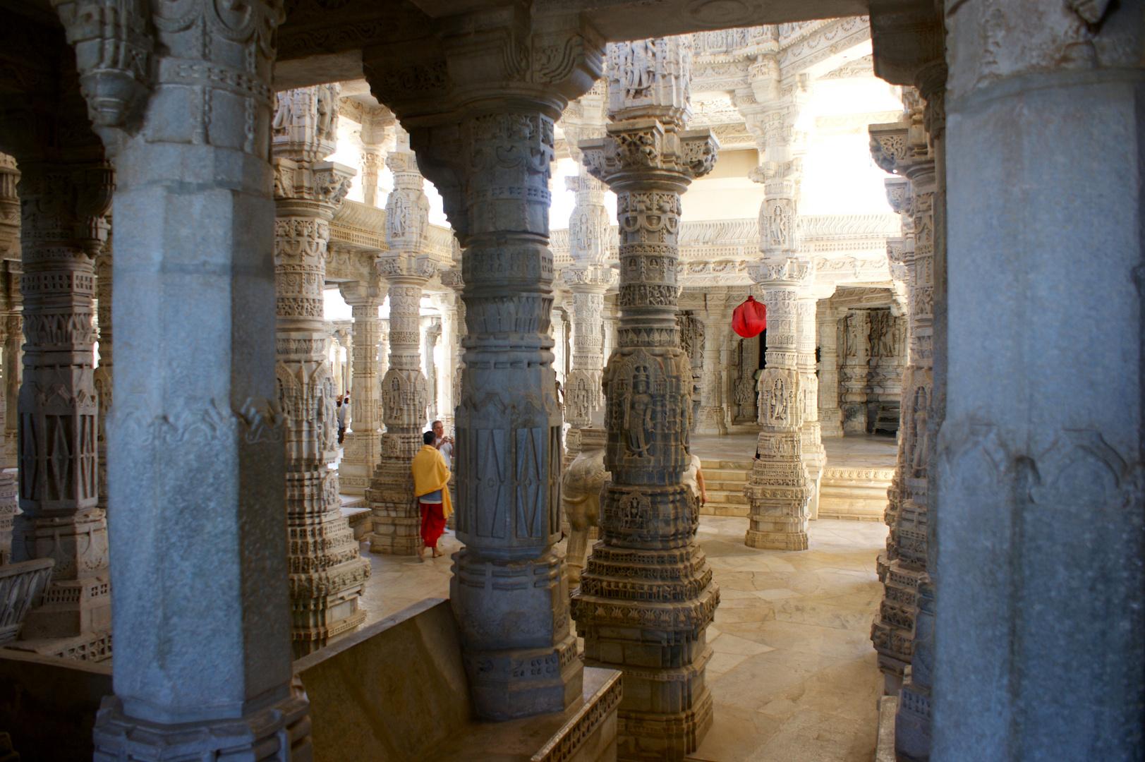 Columns inside the Adinath Temple, near Udaipur