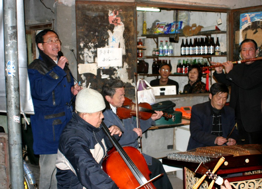 concert in a street of Shanghai