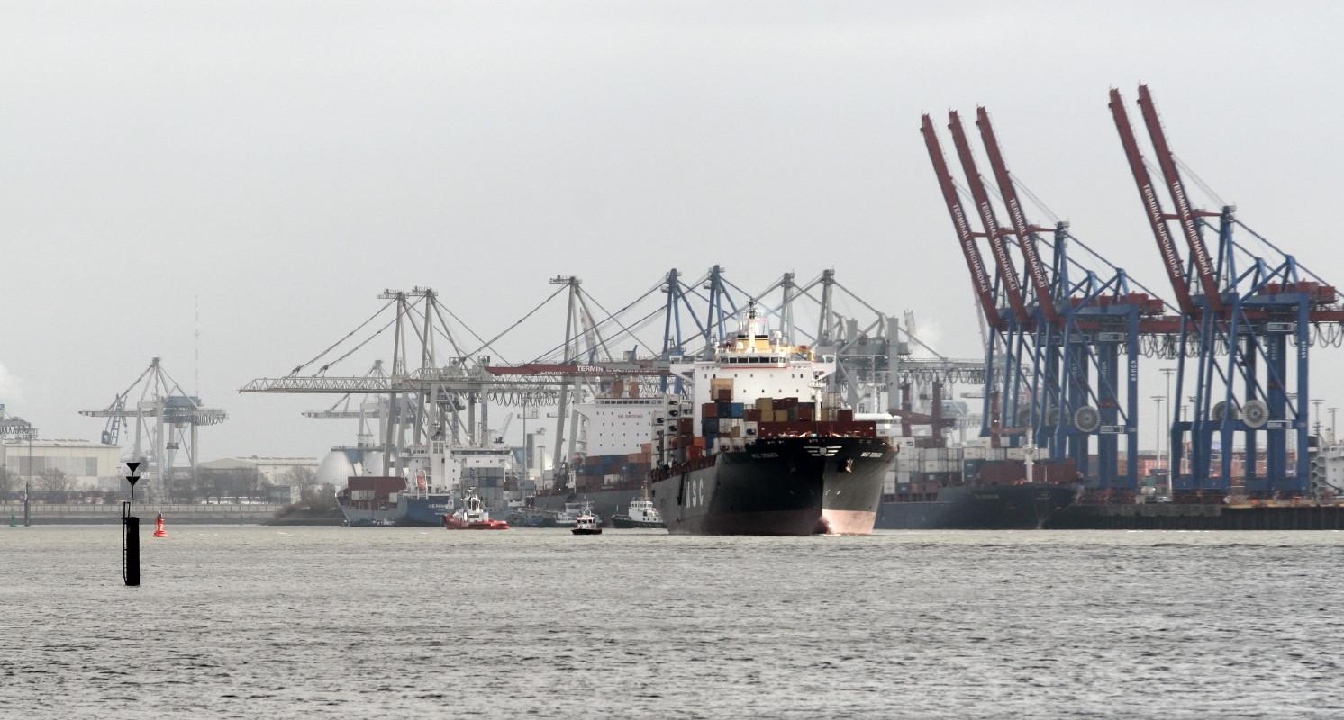 Containerschiff in Teufelsbrück Hamburg