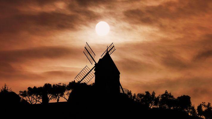 Contre jour sur le moulin de Collioure