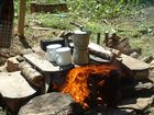 Cooking coffee on a fire