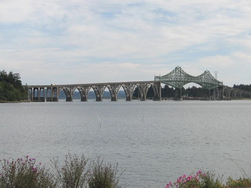 Coos Bay and Conde B. McCullough Bridge
