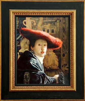 """Copie d'après Vermeer """" Jeune fille au chapeau rouge"""""""