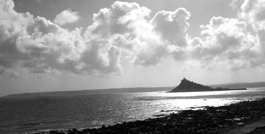 Cornwall -- St. Michael's Mount (schwarz-weiß)