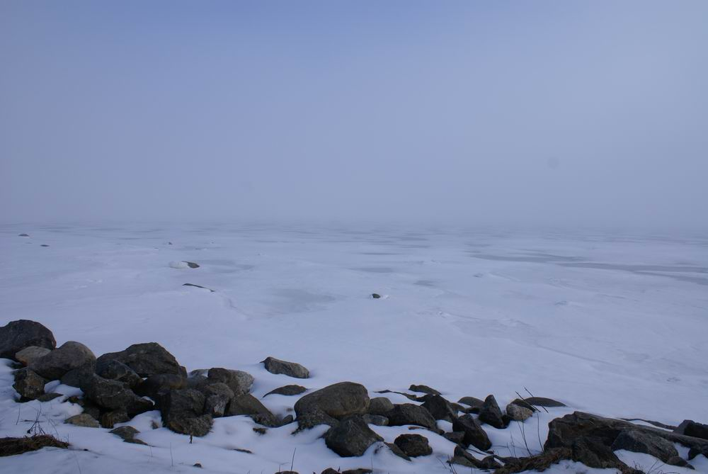 Costal ice in the fog