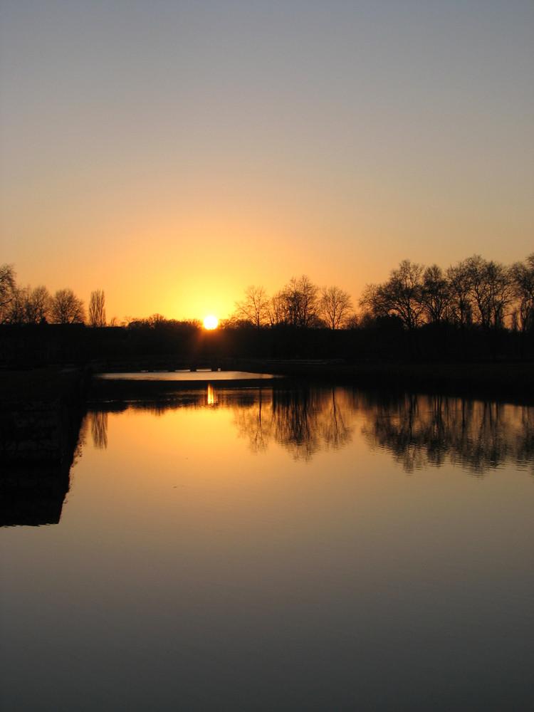couché de soleil dans le parc de Chambord