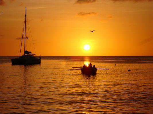 Couché de soleil dans les antilles